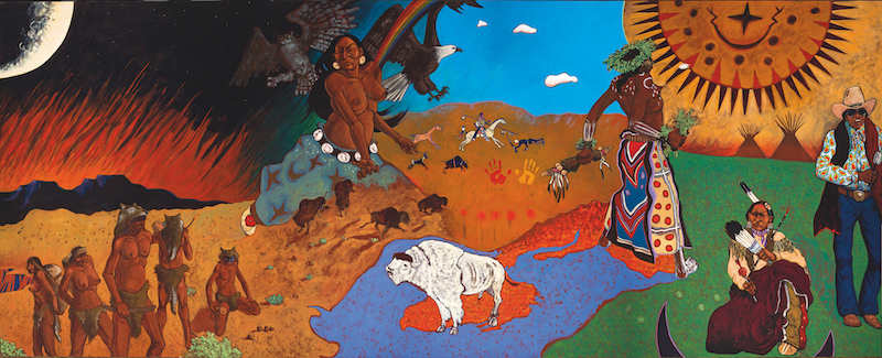 "Epochs in Plains History: Mother Earth, Father Sun, the Children Themselves, 1976–1977. Oil on canvas. 96"" x 240""."