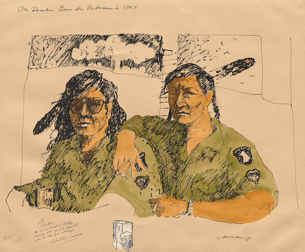 "On Drinkin' Beer in Vietnam in 1967, 1988–1989 Lithograph. 24"" x 30""."