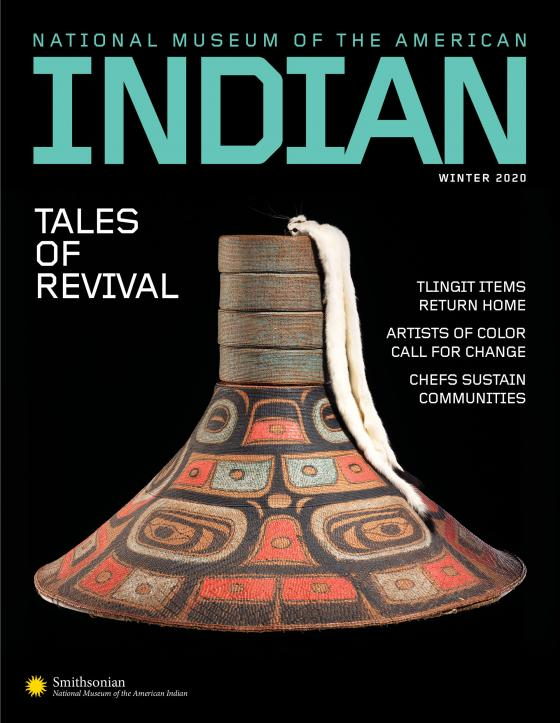 American Indian magazine Winter 2020 cover featuring a Tlingit hat with raven face