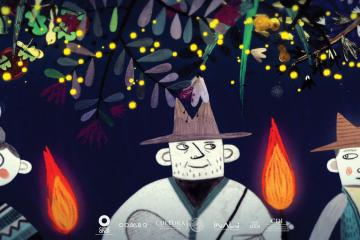 screenshot from the animated short film Fireflies