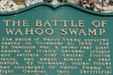 Plaque for the Battle of Wahoo Swamp