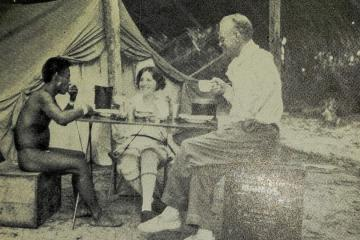 Dr. and Mrs. Dickey take tea with a Tukanoan chief