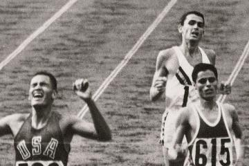 Billy Mills winning the 10,000-meter run at the 1964 Tokyo Olympics