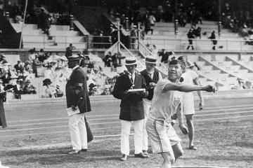Jim Thorpe in the shot-put phase of the decathlon