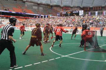 The Iroquois Nationals playing against Team Canada Lacrosse at the 2015 World Indoor Lacrosse Championship